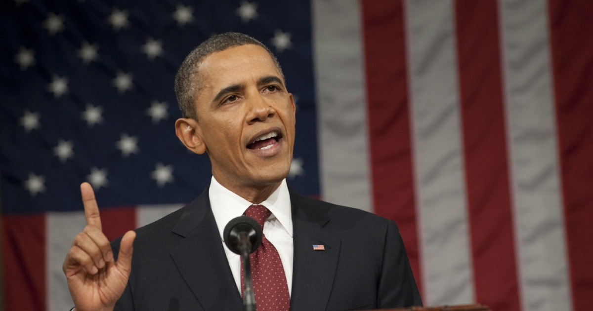 US President Barack Obama delivers his State of the Union address before a joint session of Congress on Capitol Hill on January 24, 2012 in Washington, DC.The president called economic inequality