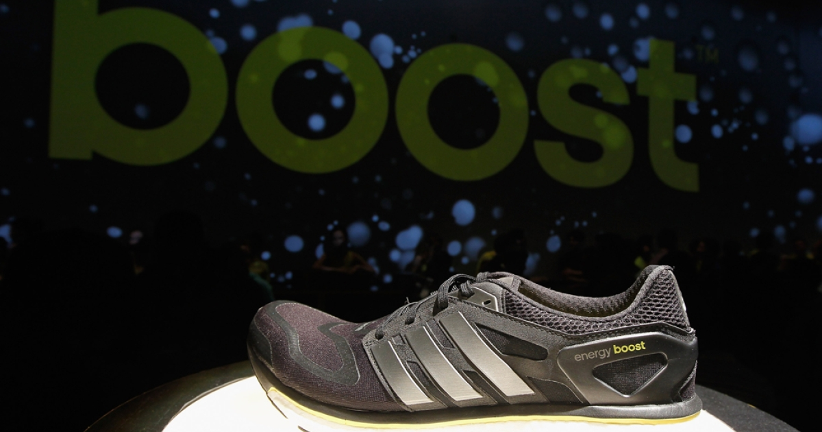 A detailed view of the Adidas Energy Boost sneaker at the Jacob K. Javits Convention Center on Feb. 13, 2013, in New York City.</p>