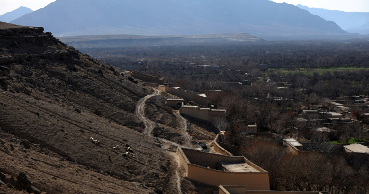 Afghan village houses in Chora valley, southern Uruzgan province.</p>