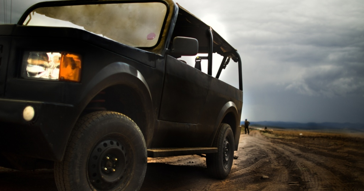 The Mobius, Africa's $6,000 anti-Hummer, in action.</p>