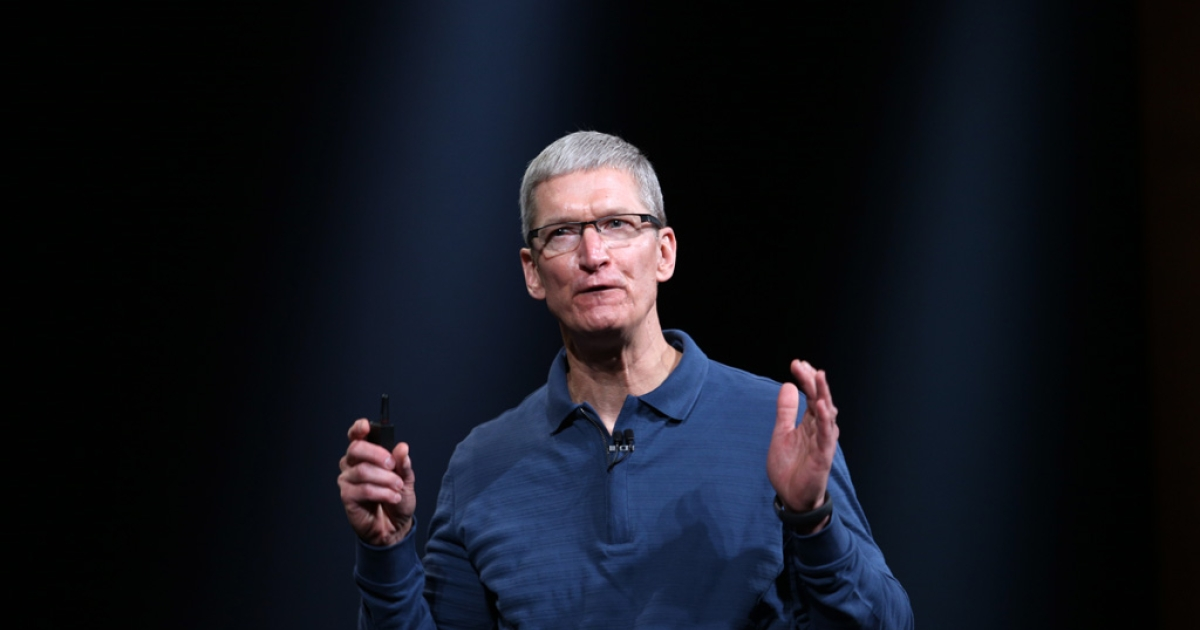 Apple CEO Tim Cook speaks during Apple's special event at the California Theater in San Jose on October 23, 2012. Apple unveiled a smaller version of its hot-selling iPad on Tuesday, jumping into the market for smaller tablet computers dominated by Amazon, Google, and Samsung.</p>