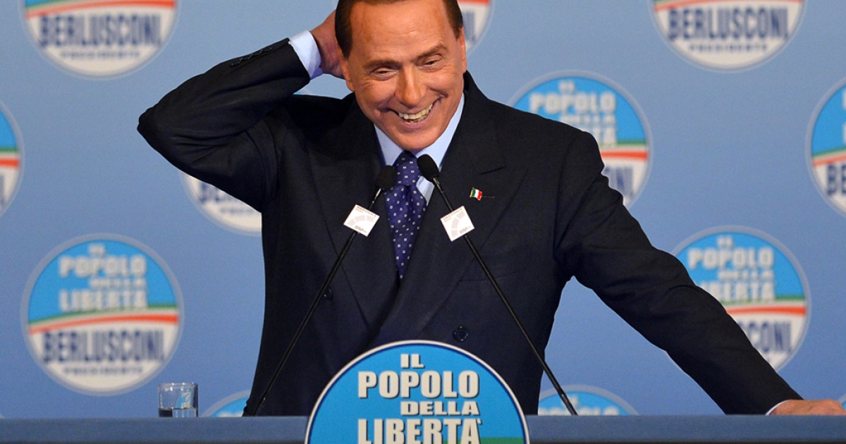 Italy's former Prime Minister Silvio Berlusconi delivers a speech during a campaign rally to present the list of the PDL candidates for the upcoming elections, in Rome on Jan. 25, 2013.</p>