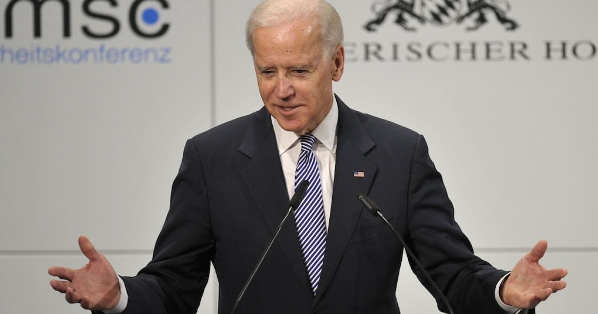 US Vice President Joe Biden delivers a speech at the Munich Security Conference on February 2, 2013 in Munich, southern Germany as world leaders, ministers and top military gather for talks with the spotlight on Syria, Mali and Iran.</p>