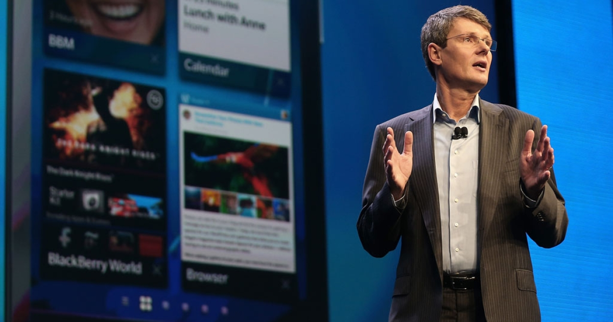 BlackBerry president Thorsten Heins speaks at the BlackBerry 10 launch event at Pier 36 in Manhattan on January 30, 2013 in New York City. The new smartphone and mobile operating system is being launched simultaneously in six cities.</p>