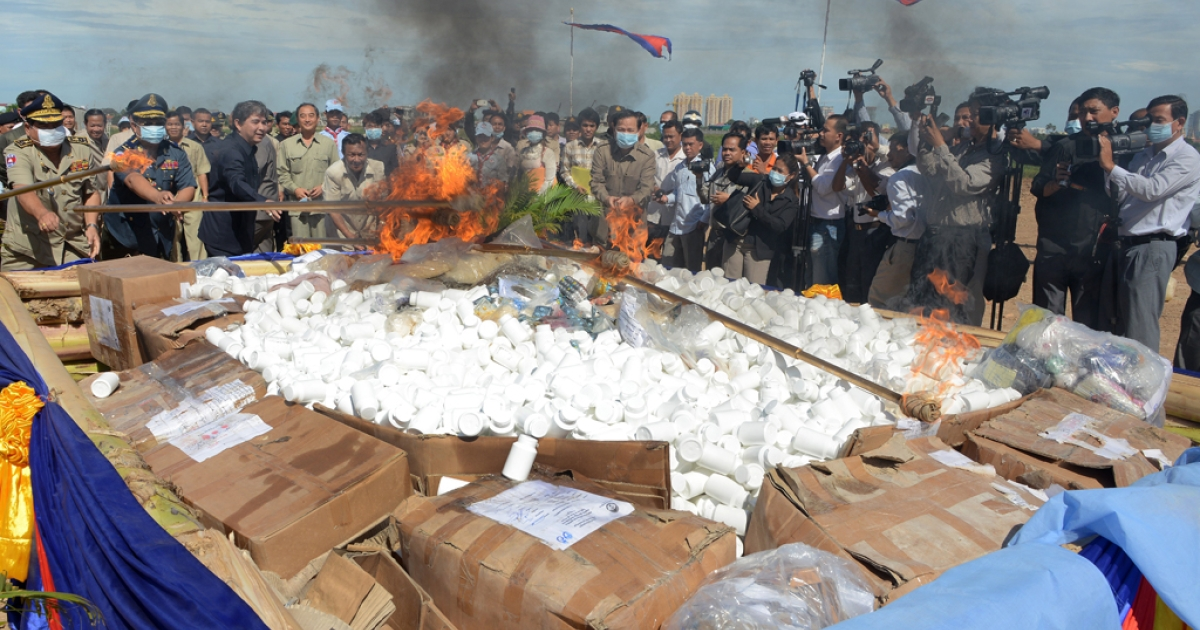 Cambodian authorities burn more than one ton of drugs at a destruction ceremony in Phnom Penh on Aug. 28, 2012. Though drugs are illegal in Cambodia, a worldwide loosening of marijuana laws is testing rigid UN drug conventions.</p>