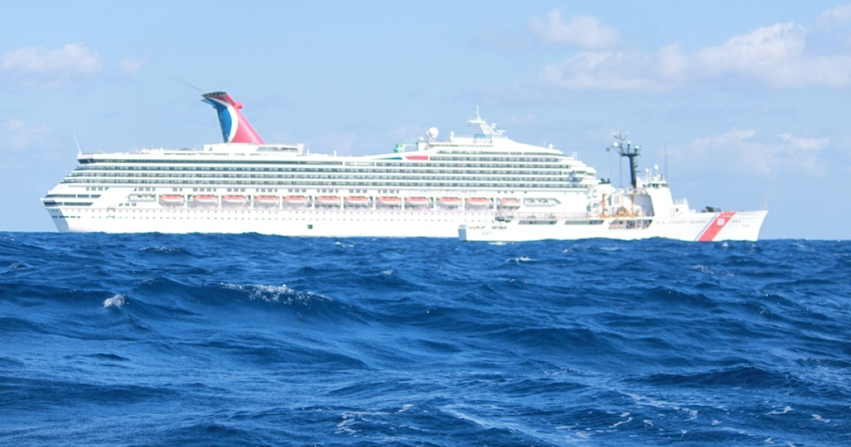 In this handout from the U.S. Coast Guard, the cruise ship Carnival Triumph sits idle February 11, 2013 in the Gulf of Mexico. According to the Coast Guard, the ship lost propulsion power February 10, after a fire broke out in the engine room.</p>