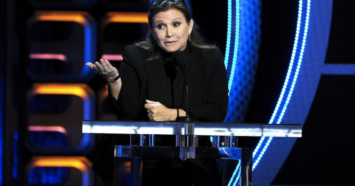 Actress Carrie Fisher speaks onstage during the Comedy Central Roast of Roseanne Barr at Hollywood Palladium on August 4, 2012 in Hollywood, California.</p>