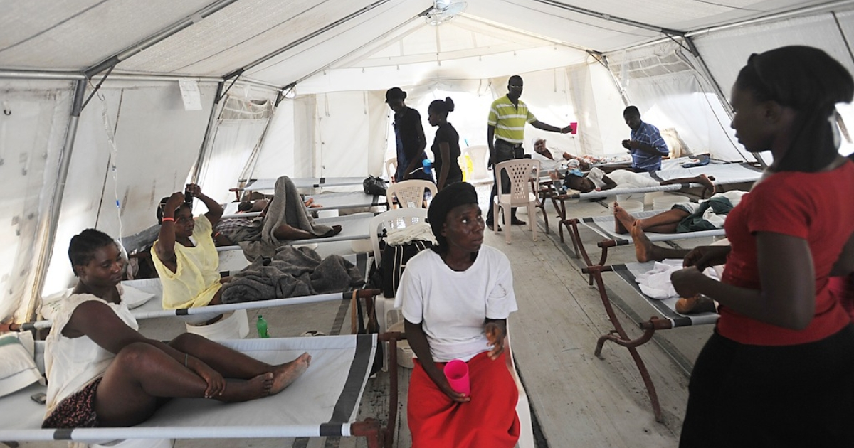 Cholera patients are pictured in a Doctors Without Borders clinic in Delmas, Haiti. The epidemic is caused by dirty drinking water, and is said to have been brought to Haiti after the devastating earthquake in 2010 by UN peacekeepers from Nepal. A case against the UN charging negligence has stalled, and the UN announced its legal immunity on Feb. 21.</p>