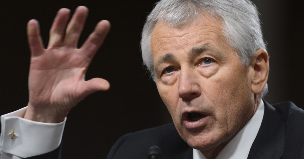 Former US Senator Chuck Hagel, President Barack Obama's nominee for US Secretary of Defense, testifies during his confirmation hearing before the Senate Armed Services Committee on Capitol Hill in Washington, DC, on Jan. 31, 2013. Facing tough questions from some senators at his confirmation hearing, Hagel said in his opening remarks that he wanted to keep America's armed forces the strongest in the world and that he supported using military force to safeguard the country's interests.</p>