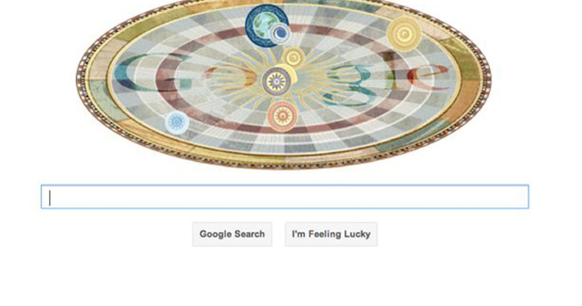 This animated medieval model of the heliocentric solar system is a Google Doodle celebrating astronomer Nicolaus Copernicus' 540th birthday.</p>