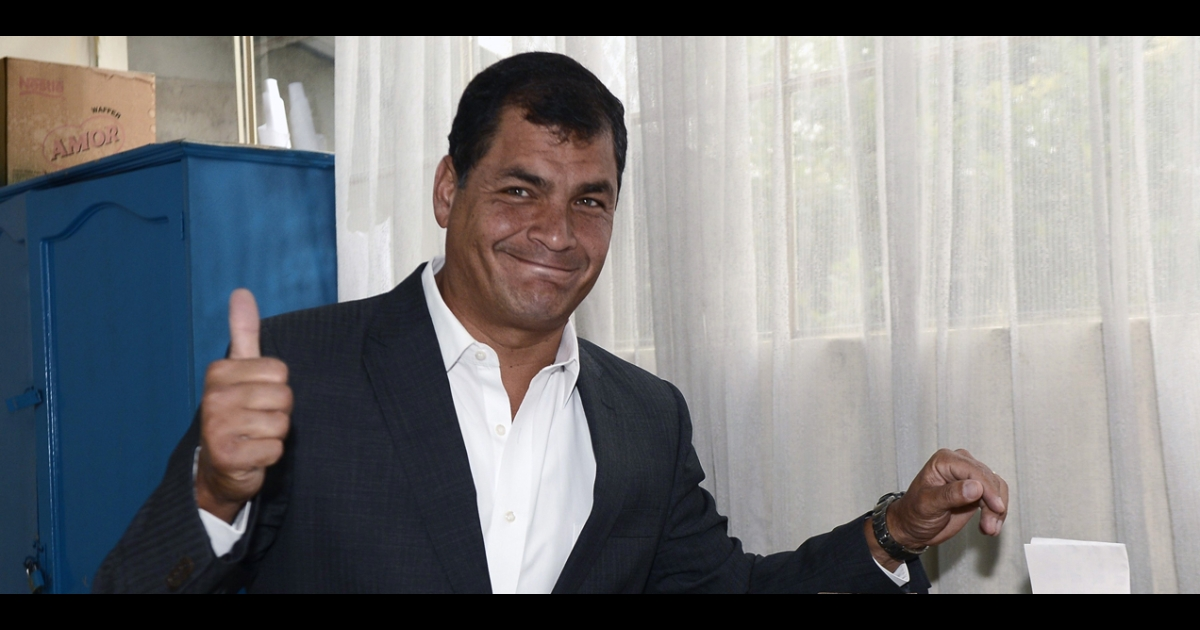 Ecuadorean President Rafael Correa casts his vote at a polling station in Quito on Feb. 17, in an election he won handily.</p>
