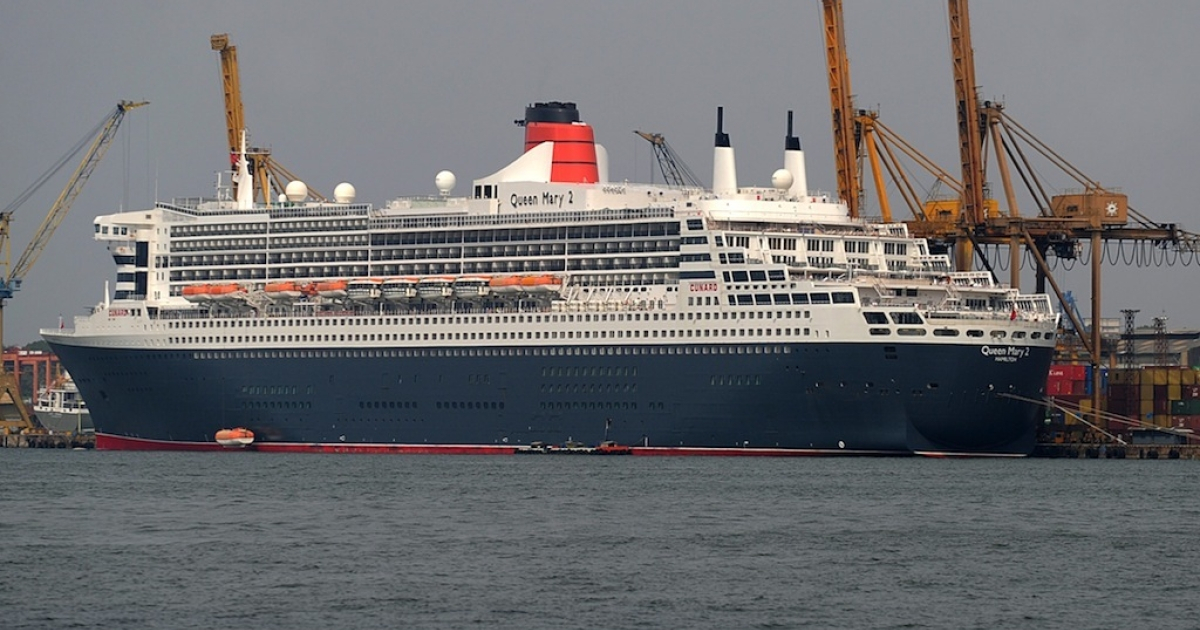 The RMS Queen Mary is pictured during a brief stopover at the Colombo harbour on Feb. 4, 2013.</p>