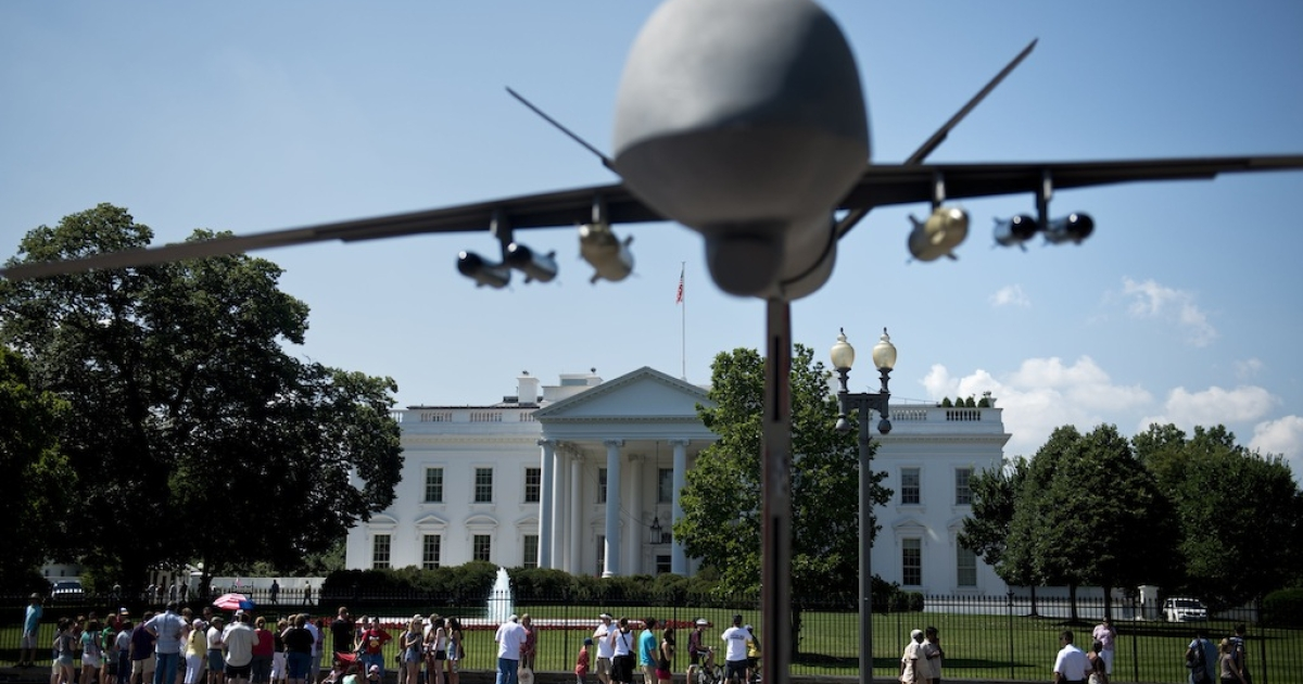 A model of a drone on Pennsylvania Avenue outside the White House on June 23, 2012 in Washington, DC.</p>