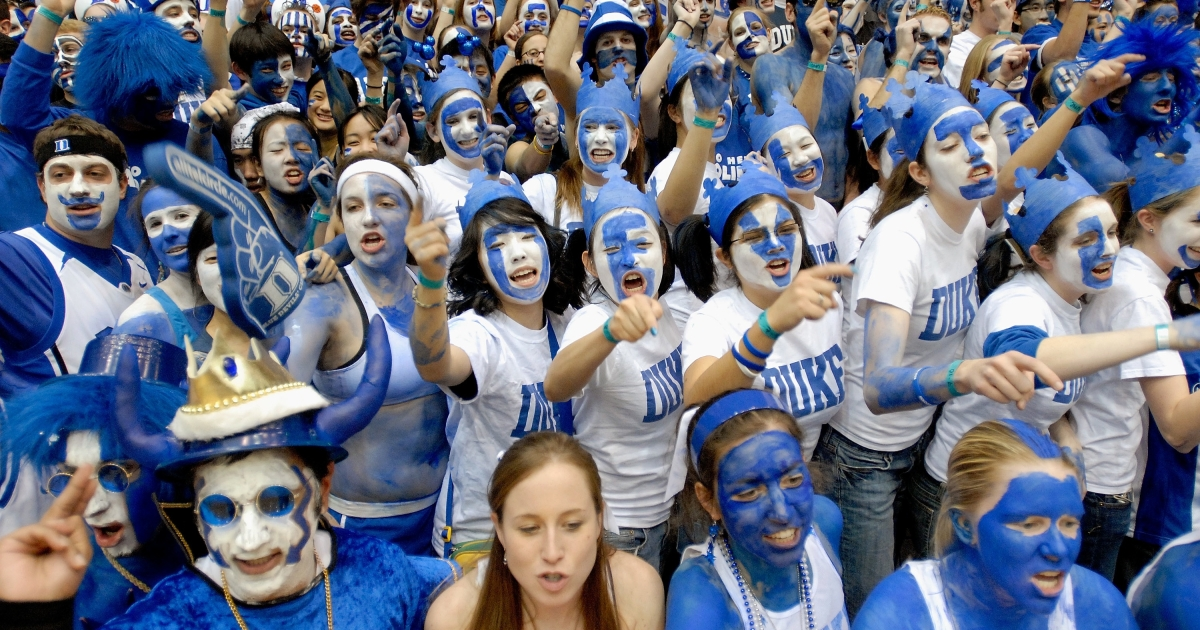Duke fans cheer as they wait for the start of a game between the Duke Blue Devils and the North Carolina Tar Heels on Feb. 7, 2007 at the Cameron Indoor Stadium in Durham, NC.</p>