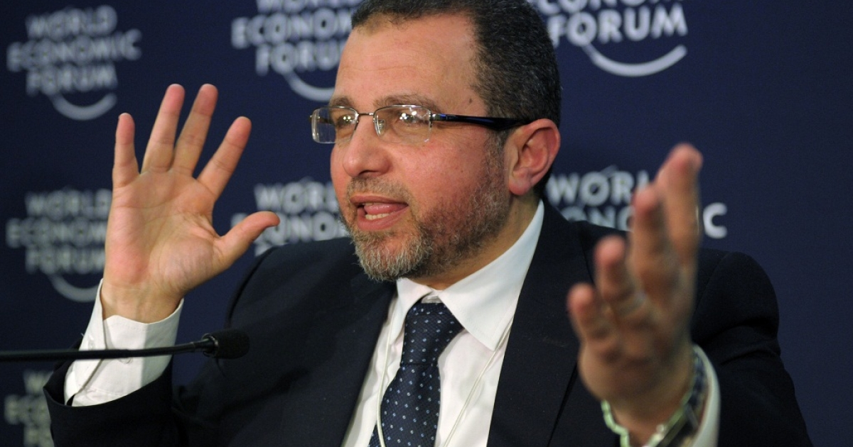Egyptian Prime Minister Hisham Kandil talks during a press conference at the congress center during the World Economic Forum in Davos on January 24, 2013</p>