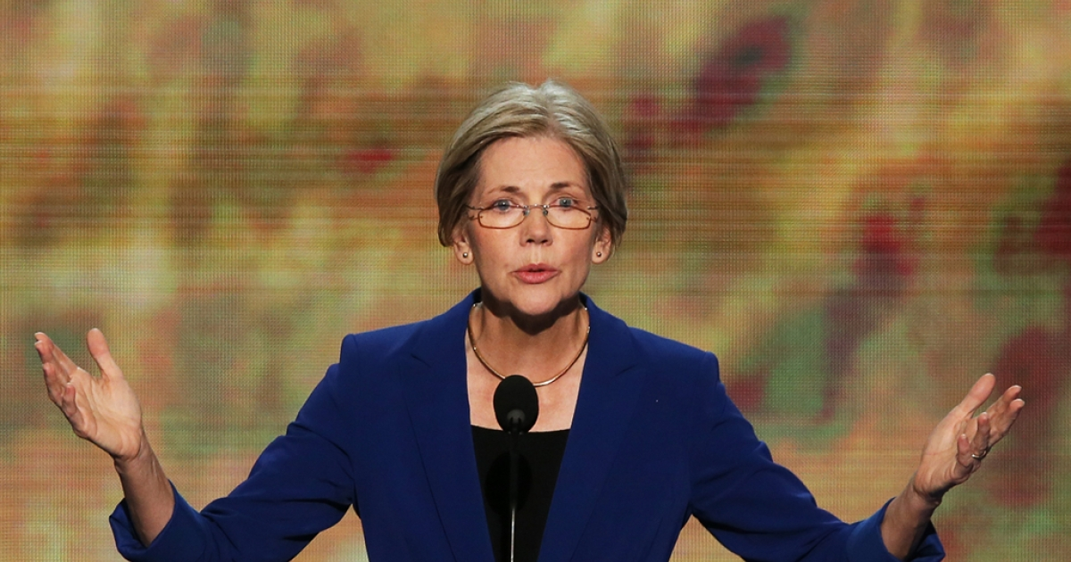 Massachusetts Senator Elizabeth Warren speaks during day two of the Democratic National Convention at Time Warner Cable Arena on Sep. 5, 2012 in Charlotte, North Carolina.</p>