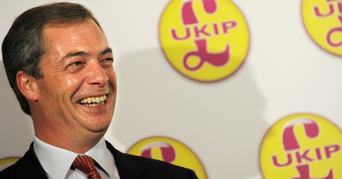 On the up and up: UKIP leader Nigel Farage.</p>