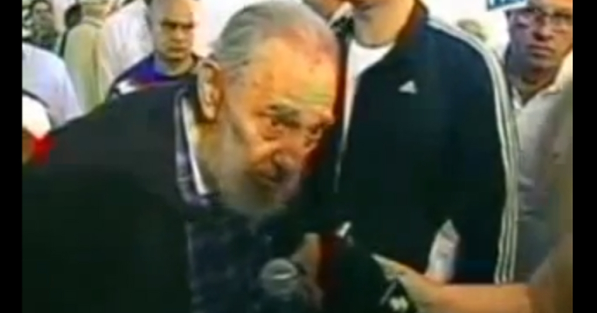 In this screengrab, retired Cuban leader Fidel Castro talks with reporters while voting in the country's general election Feb. 3, 2013.</p>