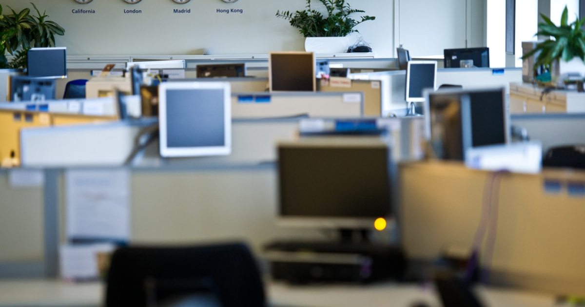 A general view of the empty O2 offices during their flexible working pilot scheme on Feb. 8, 2012, in Slough, England. Employees based at O2's 200,000 square foot office participated in a flexible working pilot, operating remotely for the day.</p>