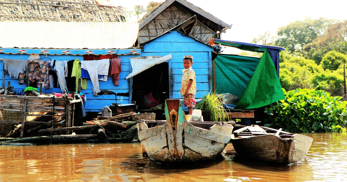 Cambodians who live closely with poultry in rural areas are at a higher risk of contracting avian flu, such as this child residing in a floating village on the Tonle Sap Lake.</p>
