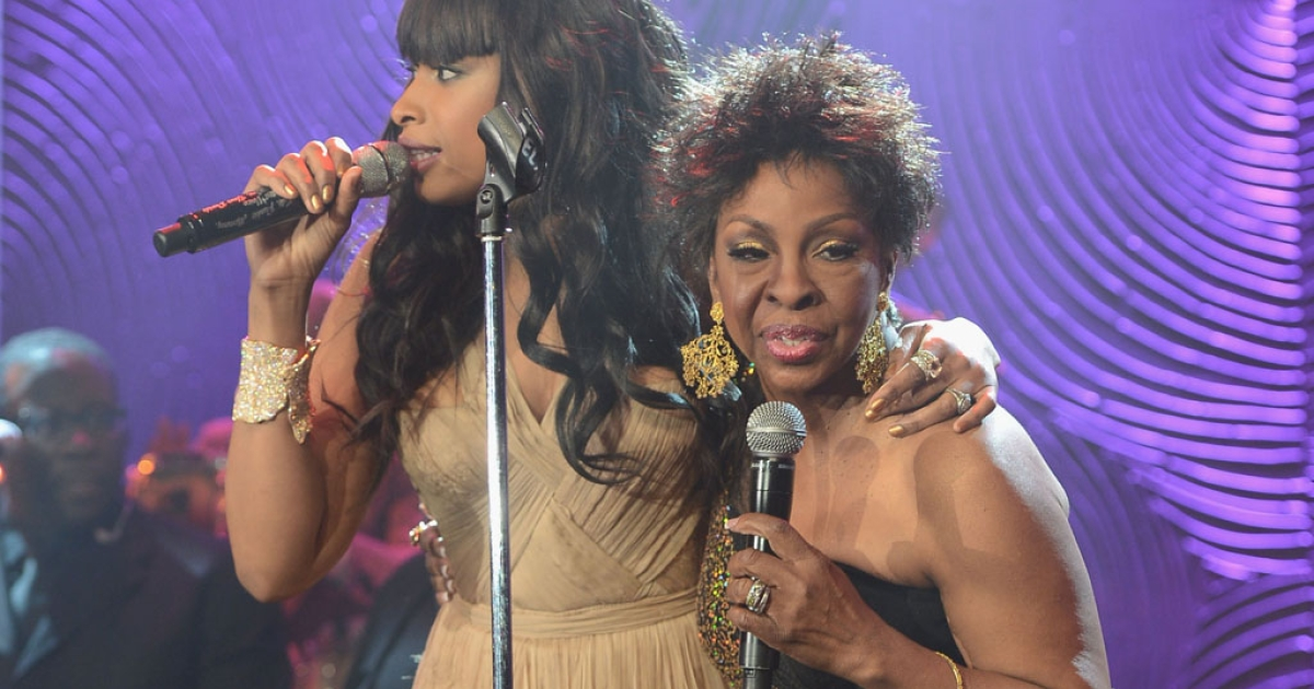 Jennifer Hudson, left, and Gladys Knight perform during a Whitney Houston tribute during a pre-Grammy gala at The Beverly Hilton on February 9, 2013 in Los Angeles, California.</p>