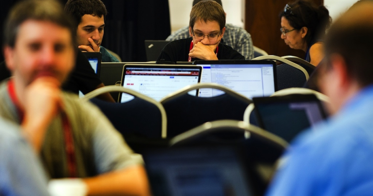 Computer hackers participate in the Wikimania Hackathon at George Washington University in Washington, DC, July 10, 2012. At the 'Wikimania' event held in Washington over the past week, several hundred members of the 'wiki' community gathered for talks about the site and a two-day 'hackathon,' aimed at improving Wikipedia.</p>