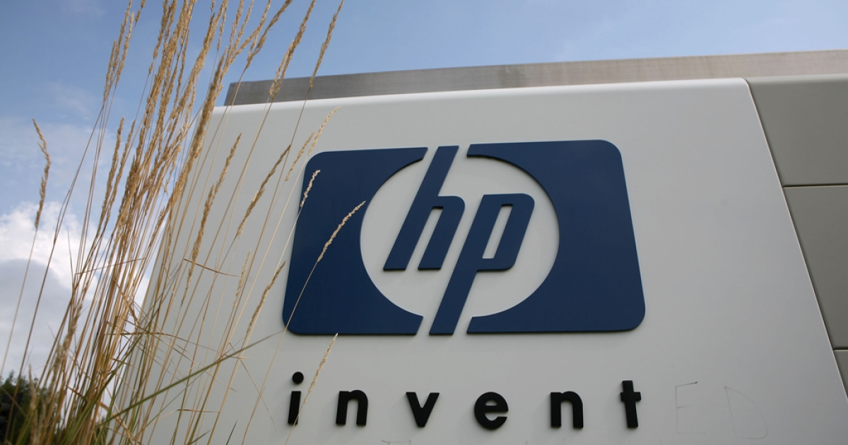 The Hewlett-Packard logo is displayed on the entrance to the HP Headquarters on Sept. 16, 2008, in Palo Alto, Calif. HP recently became the first company on LinkedIn to get 1 million followers.</p>