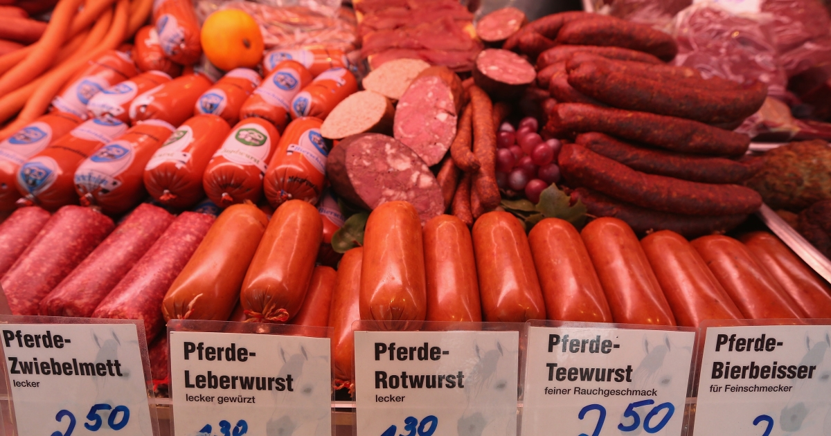 Less fat, more protein: horsemeat ham, wurst and sausage at an open-air market in Berlin.</p>
