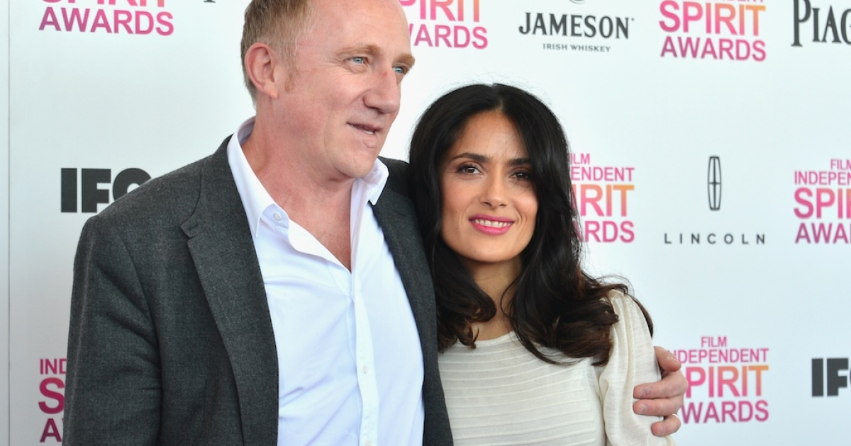 Actress Salma Hayek (R) and Francois-Henri Pinault attend the 2013 Film Independent Spirit Awards at Santa Monica Beach on February 23, 2013 in Santa Monica, California.</p>