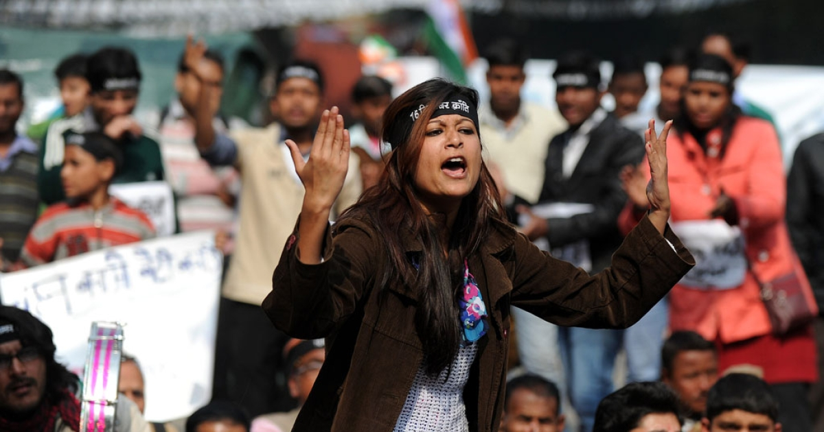An Indian protester shouts slogans during a demonstration in New Delhi on January 29, 2013, against last month's gang rape and murder of a student.</p>
