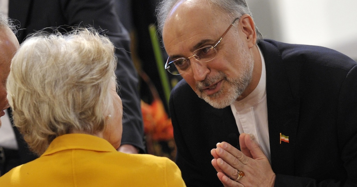 Iran's Foreign Minister Ali Akbar Salehi (R) greets US Director of the Woodrow Wilson Intenational Center for Scholars, Jane Margaret Harman on the third day of the 49th Munich Security Conference on February 3, 2013 in Munich, southern Germany as world leaders, ministers and top military gather for talks with the spotlight on Syria, Mali and Iran.</p>