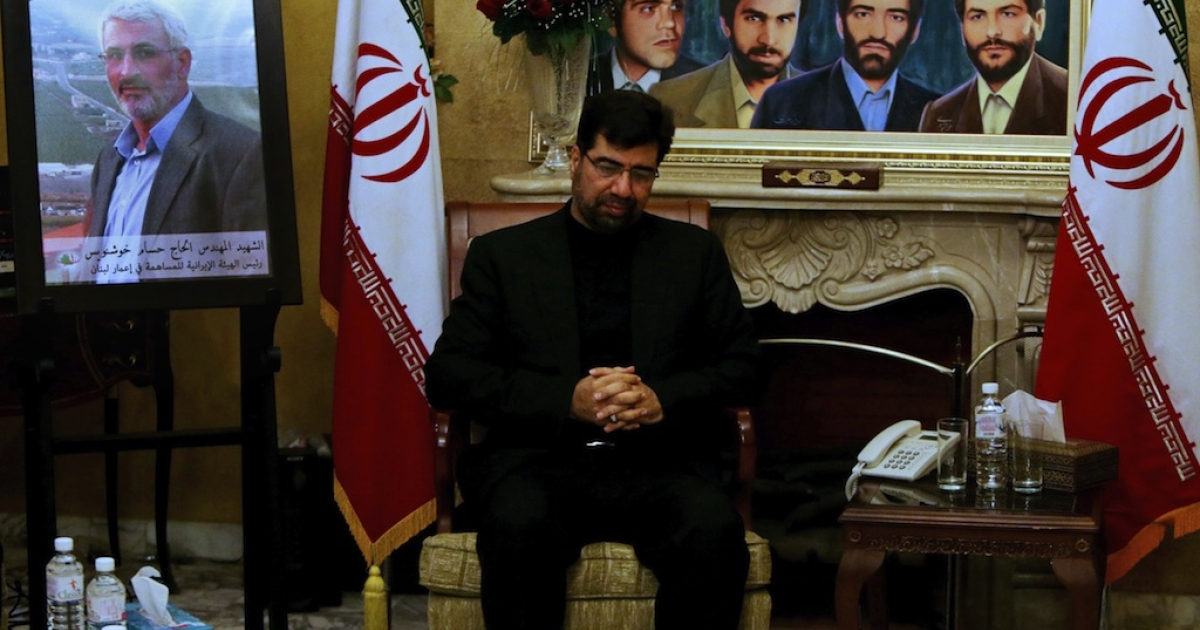 Iranian Ambassador to Beirut Ghazanfar Asl Roknabadi receives condolences following the death of Revolutionary Guards commander Hassan Shateri in Syria.</p>