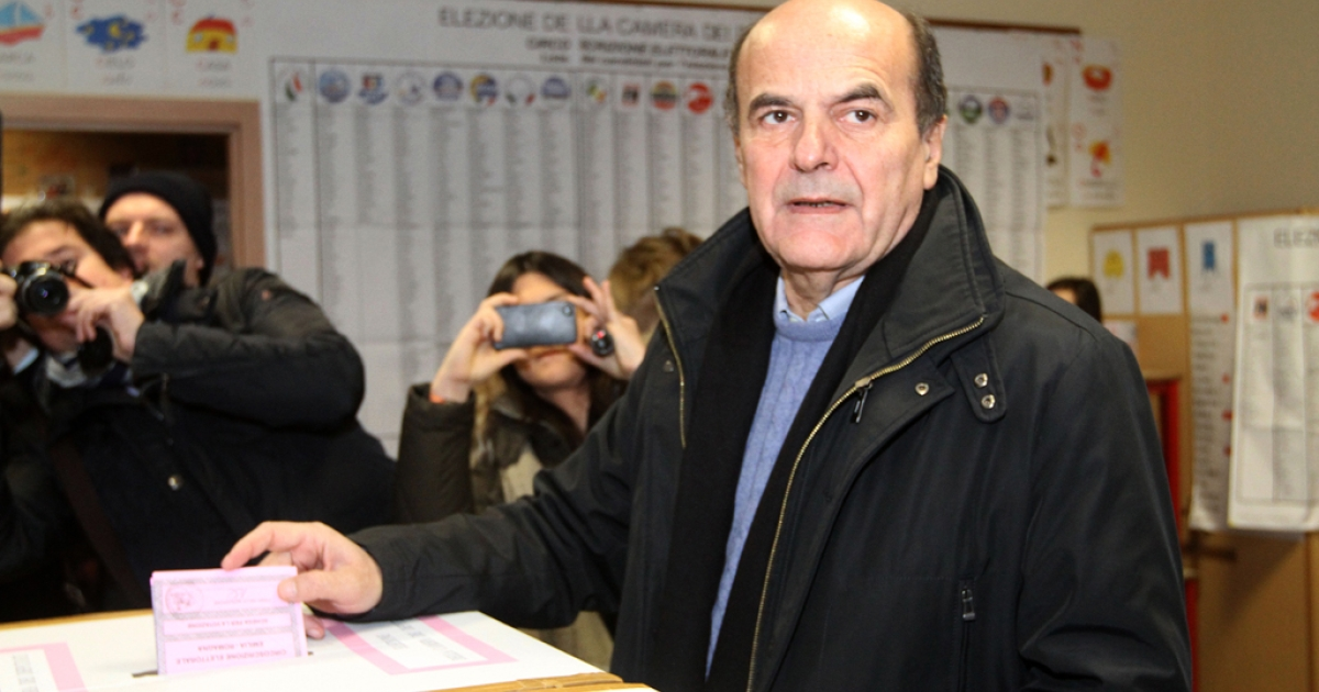 Democratic Party's Pier Luigi Bersani, the favourite to become Italy's prime minister after the general election, casts his ballot in a polling station on February 24, 2013 in Piacenza. Italians fed up with austerity went to the polls on Sunday in elections where the centre-left is the favourite, as Europe held its breath for signs of fresh instability in the eurozone's third economy.</p>