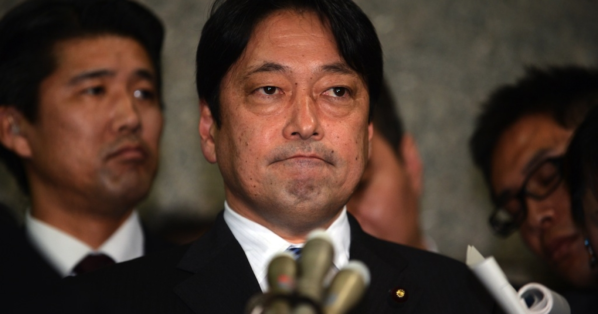 Japanese Defense Minister Itsunori Onodera speaks to reporters at the Defense Ministry in Tokyo on Feb. 5, 2013.</p>