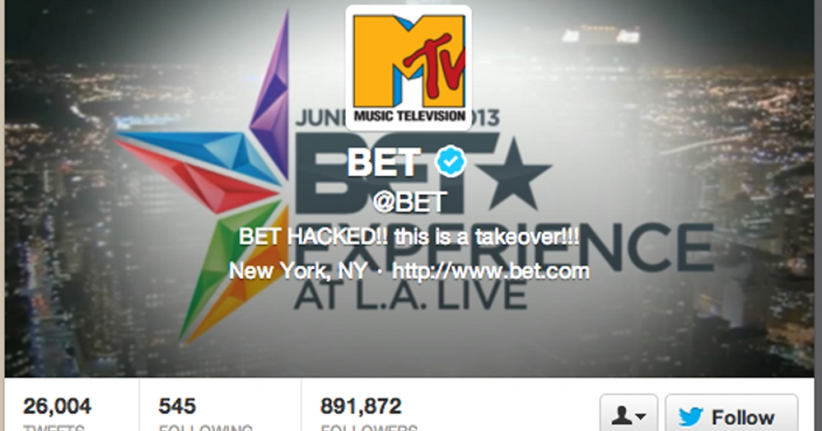 Jeep's Twitter account was hacked, and BET's Twitter account appeared to be hacked as well.</p>