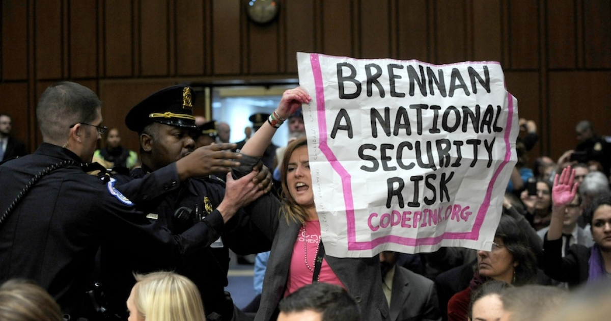 Code Pink protesters interrupt John Brennan's confirmation hearing in Washington on Thursday.</p>