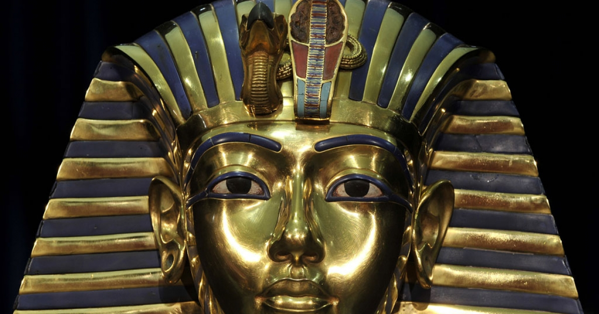 A replica of Egyptian pharaoh Tutankhamun's death mask stands on display at the Tutankhamun, His Tomb and his Treasures exhibition in Munich, Germany.</p>