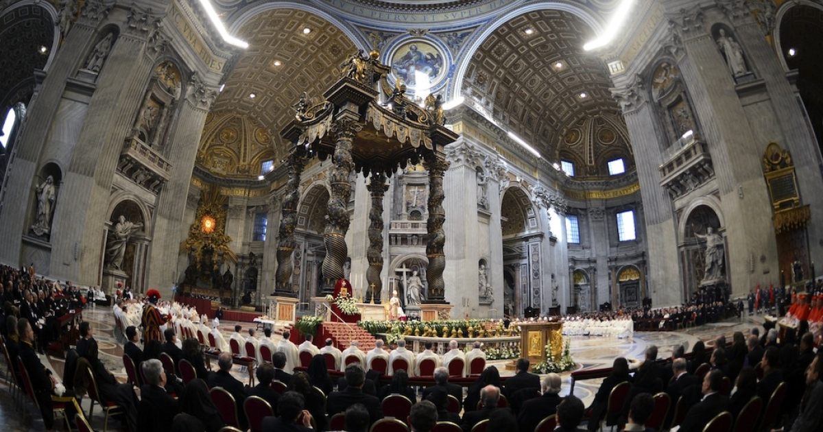 Mass in St. Peter's Basilica in Vatican City.</p>