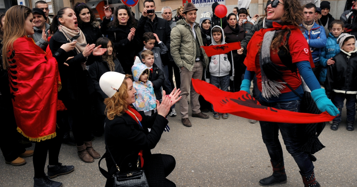 Kosovo Albanians during celebrations in Pristina on Sunday. However, many Kosovars recognize the magnitude of the task their fledgling country faces.</p>