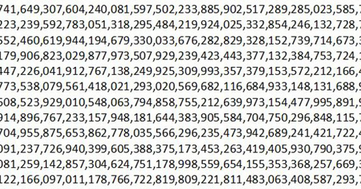 A small portion of the new largest prime number yet. The full figure is 17,425,170 digits long.</p>