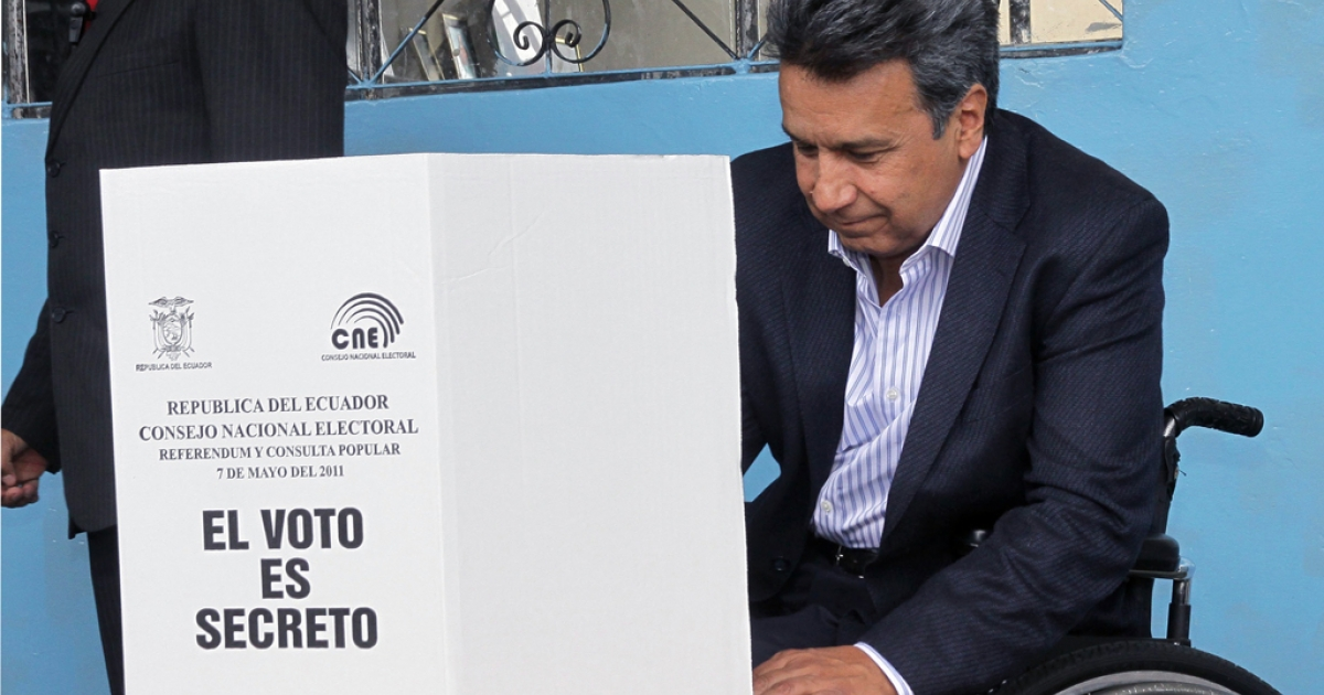 Ecuadorean Vice President Lenin Moreno casts his vote in Quito on May 7, 2011. Moreno was elected vice president in 2006, but last month he became acting president when President Rafael Correa took a leave of absence to campaign for re-election in Ecuador's Feb. 17 vote.</p>