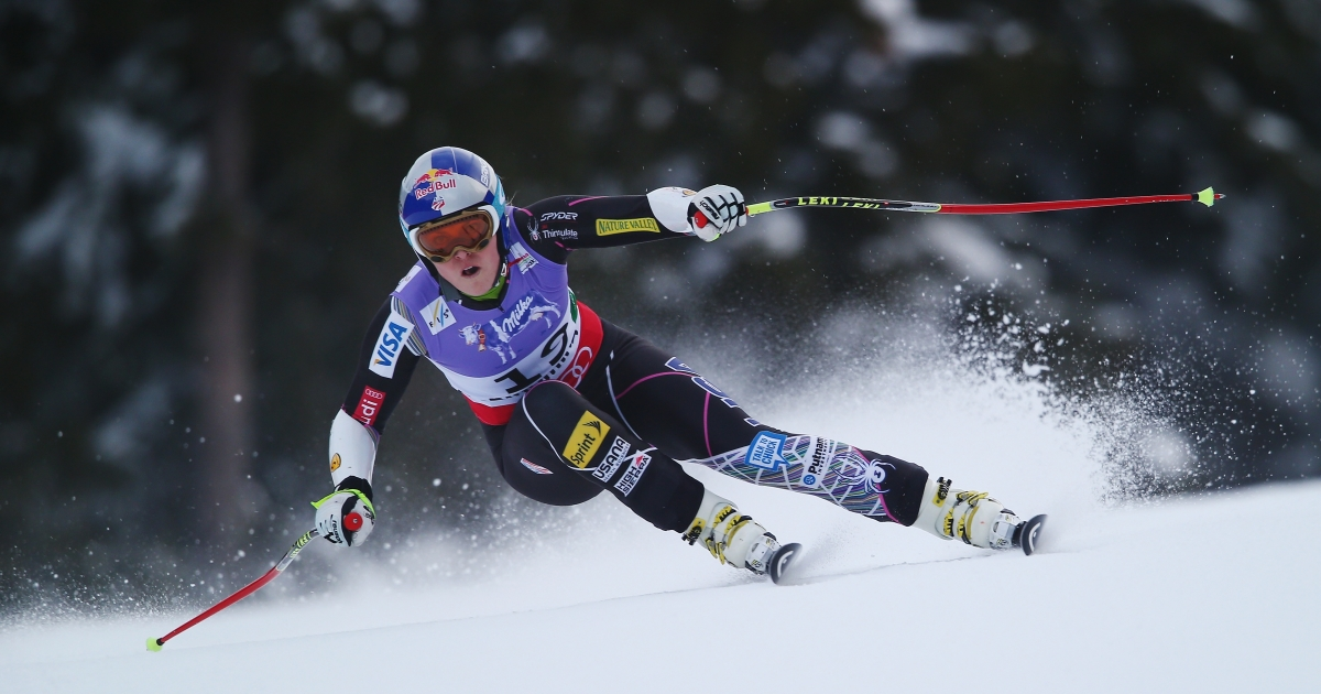 Lindsey Vonn of the United States of America skis before crashing while competing in the Women's Super G event during the Alpine FIS Ski World Championships in Schladming, Austria, on Feb. 5, 2013.</p>