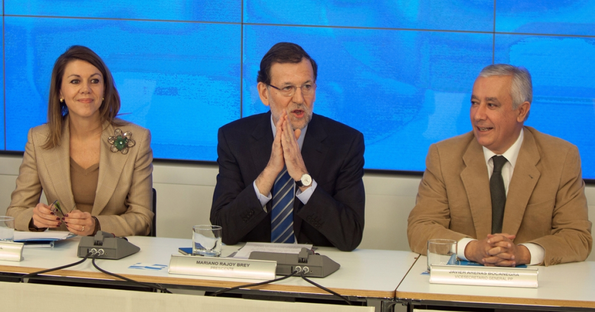From left, Popular Party Secretary General Maria Dolores de Cospedal, Spanish Prime Minister Mariano Rajoy and PP Vice Secretary Javier Arenas. The conservative party is under fire after allegations of corruption.</p>