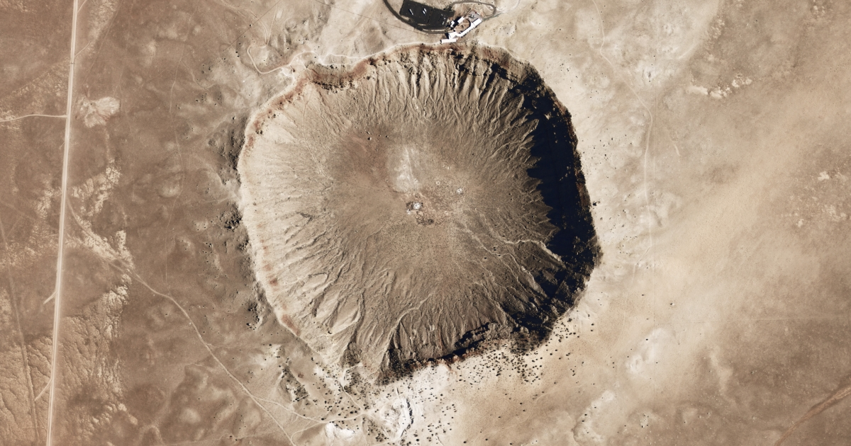 Meteor Crater in Arizona formed from the impact of an iron-nickel asteroid about 46 meters (150 feet) across.</p>