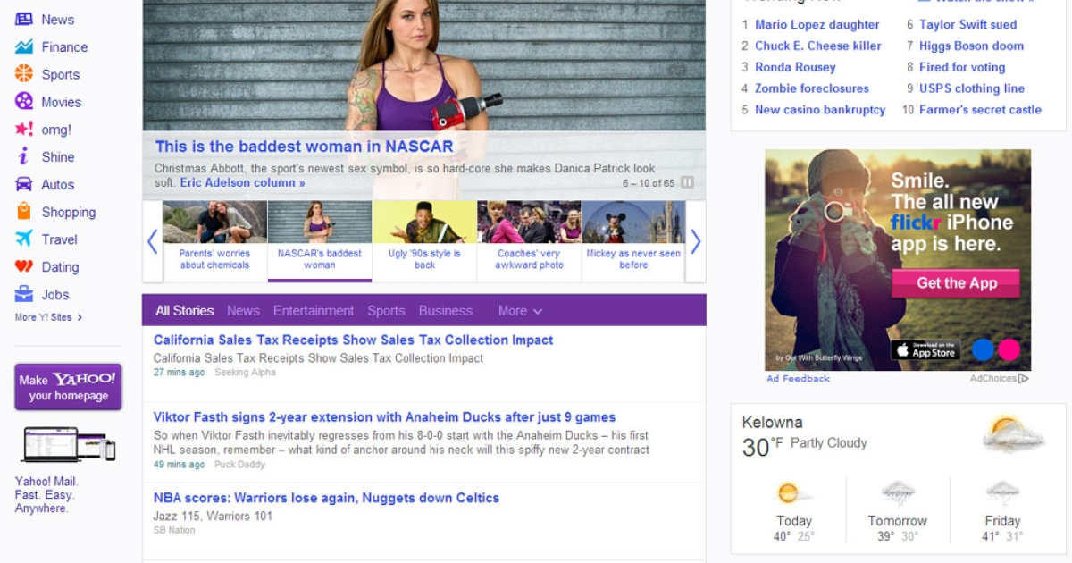 CEO Marissa Mayer revealed a new, streamlined Yahoo! home page on Feb. 20, 2013, saying it's faster and friendlier to use.</p>