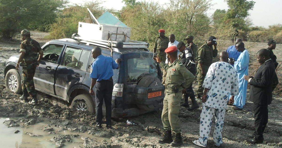 Cameroonian policemen and soldiers near the Nigerian border surround the vehicle in which seven members of a French family were driving this month before being seized by six gunmen on three motorbikes.</p>