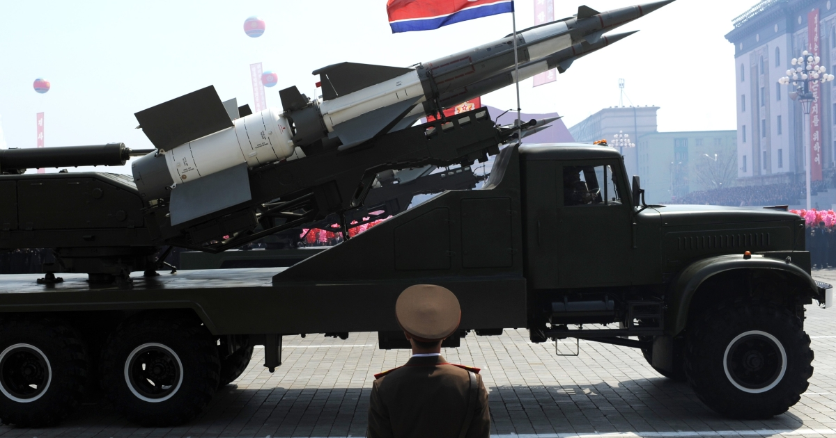 A missile is displayed during a military parade to mark 100 years since the birth of North Korea's founder Kim Il-Sung in Pyongyang on April 15, 2012.</p>