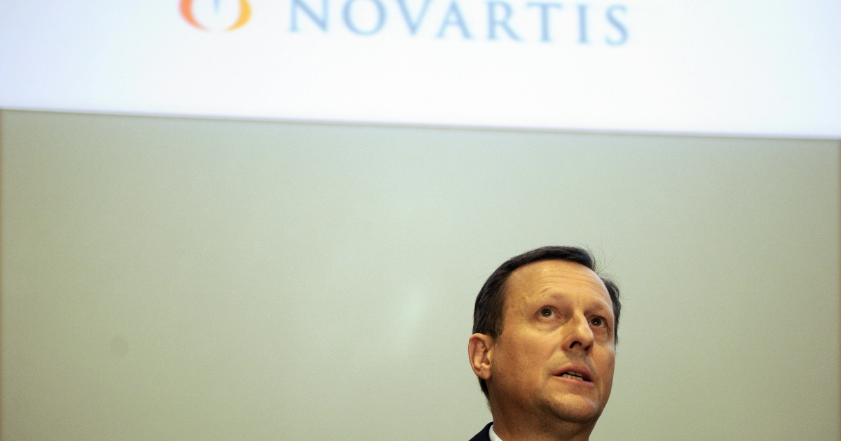 Daniel Vasella at Novartis' annual media conference in Basel, Switzerland, on Jan. 28, 2009.</p>