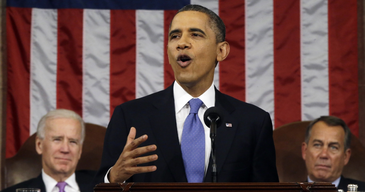 US President Barack Obama, flanked by Vice President Joe Biden and House Speaker John Boehner (R-Ohio), delivers his State of the Union speech before a joint session of Congress at the US Capitol Feb. 12, 2013, in Washington, DC. Facing a divided Congress, Obama focused his speech on new initiatives designed to stimulate the US economy.</p>