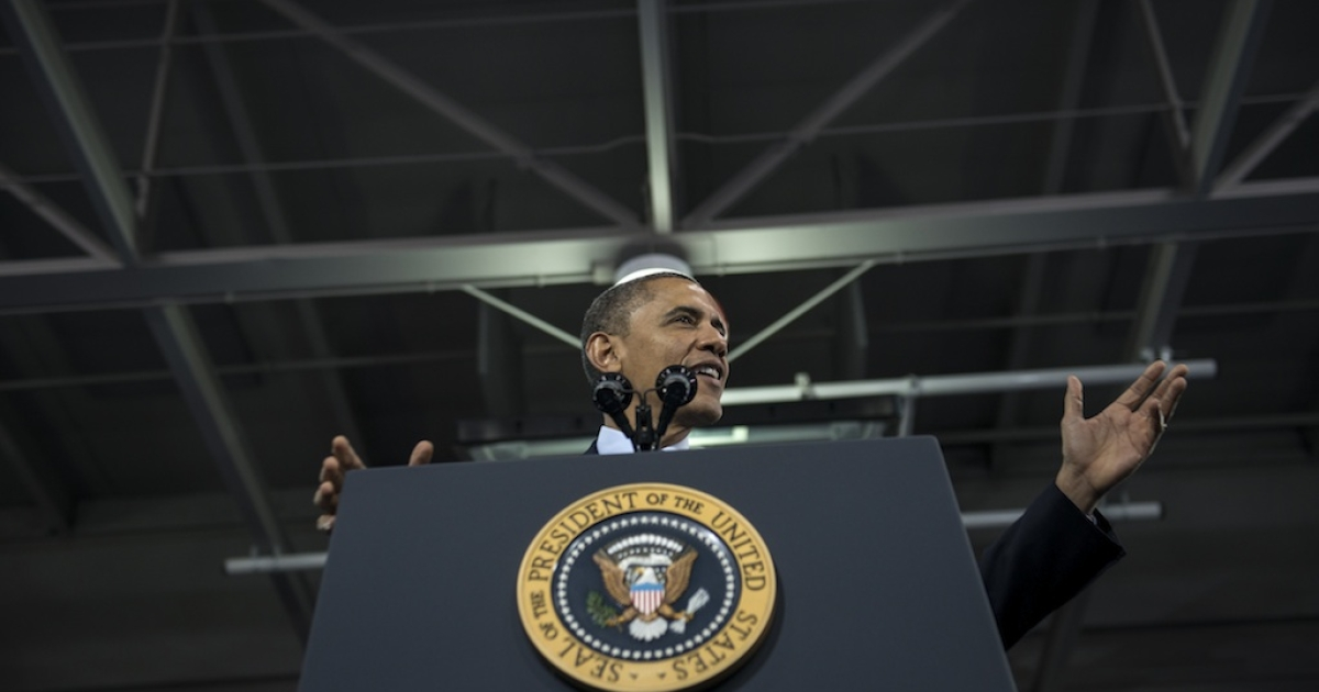 US President Barack Obama speaks during an event at the Decatur Community Recreation Center February 14, 2013 in Decatur, Georgia. Obama traveled to Georgia to promote economic and educational initiatives he spoke about in this week's State of the Union before hosting a Google fireside chat this afternoon.</p>